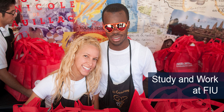 Image of student employees/volunteers Caption: Study and Work at FIU