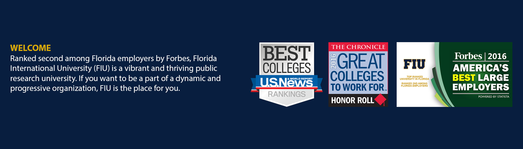 welcome slide, FIU rankings & facts info