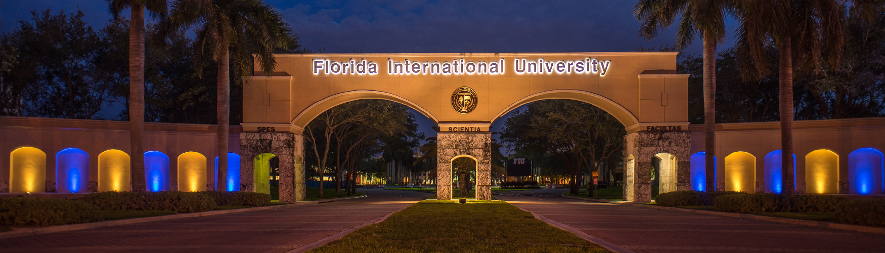 FIU arches entrance night