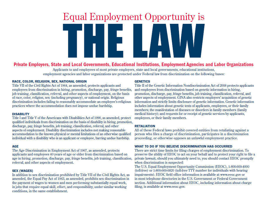 "Click the thumbnail below to access a PDF of the ""EEO is the Law"" poster"
